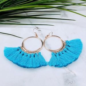 5 for $25 Gold Hoop Blue Tassel Fringe Earrings